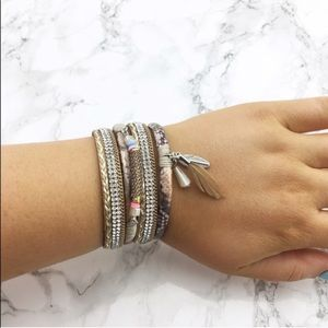 Light Pink Feather Charm Stack Bracelet